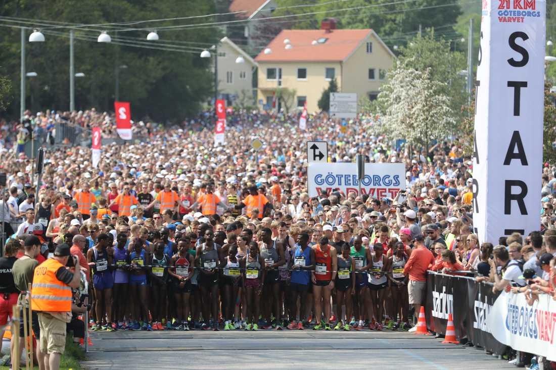 Uppemot 50000 löpare springer Göteborgsvarvet.