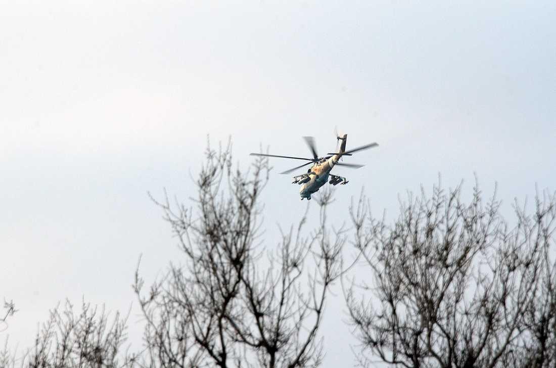 En helikopter ovanför Donetsk.