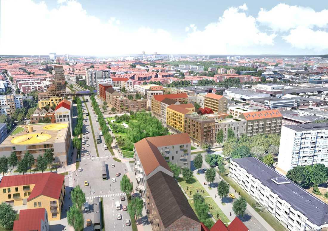 Förtätningen ska ske från stationen i Rosengård och in mot centrum.