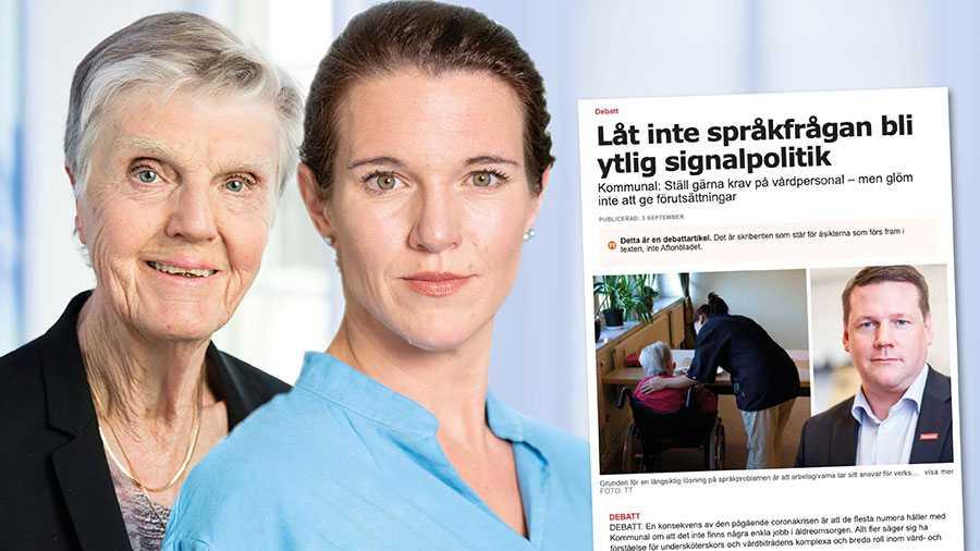 Liberalerna vill införa språkkrav i omsorgen. Vi anser dock inte som Baudin att det behövs ett val mellan välfärd och sänkta skatter, skriver Lina Nordquist och Barbro Westerholm.