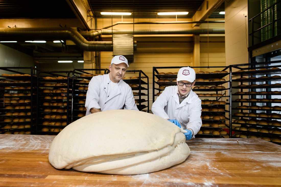 Världens största semla förbereds inför ett potentiellt världsrekord. Bogoljub Jovic och Daniel Granholm förbereder degen.