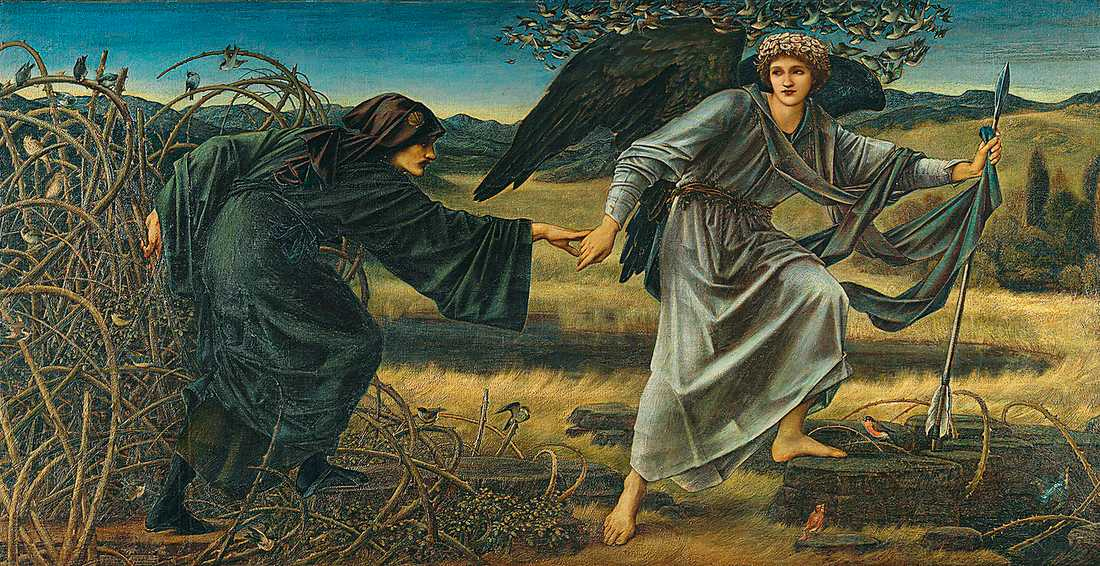 "Edward Burne-Jones, ""Love and the pilgrim"", 1896–1897. Olja på duk."