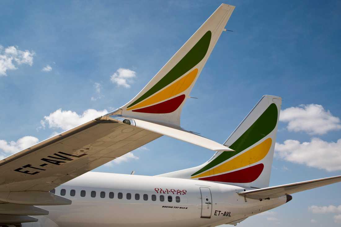 Ett Ethiopian Airlines-plan av modellen Boeing 737 Max8. Arkivbild.