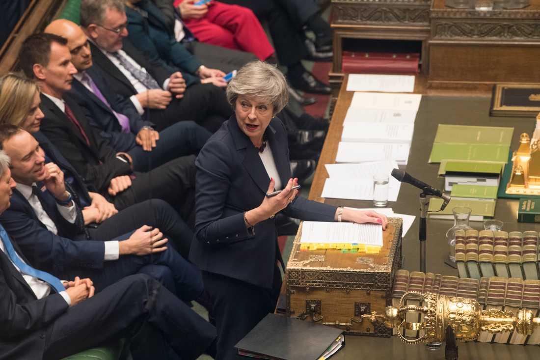 Premiärminister Theresa May siktar på ett brittiskt EU-utträde den 29 mars, med eller utan utträdesavtal. Arkivbild.
