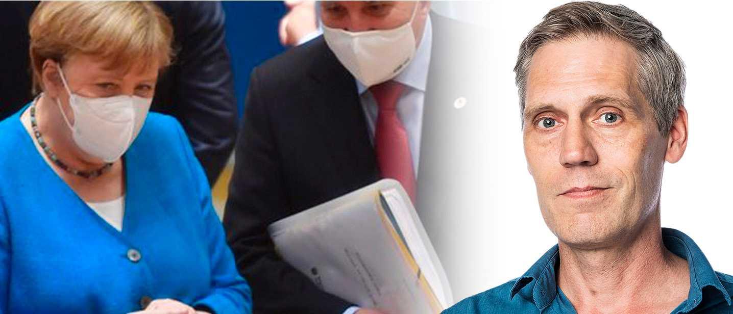 Tysklands förbundskansler Angela Merkel och statsminister Stefan Löfven under EU:s krispaketsförhandlingar.