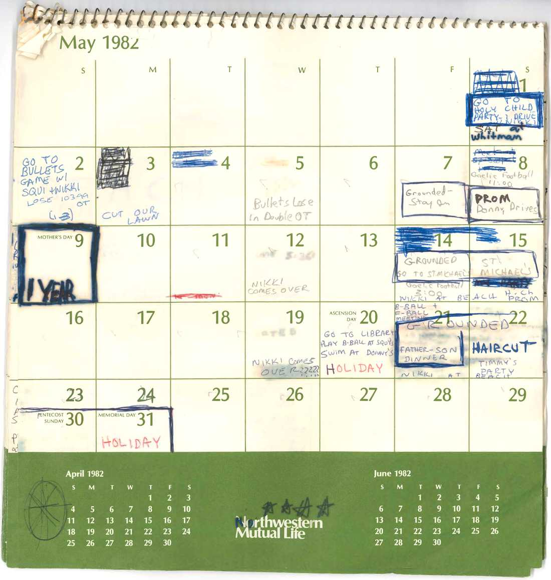 Brett Kavanaughs kalender från sommaren 1982.