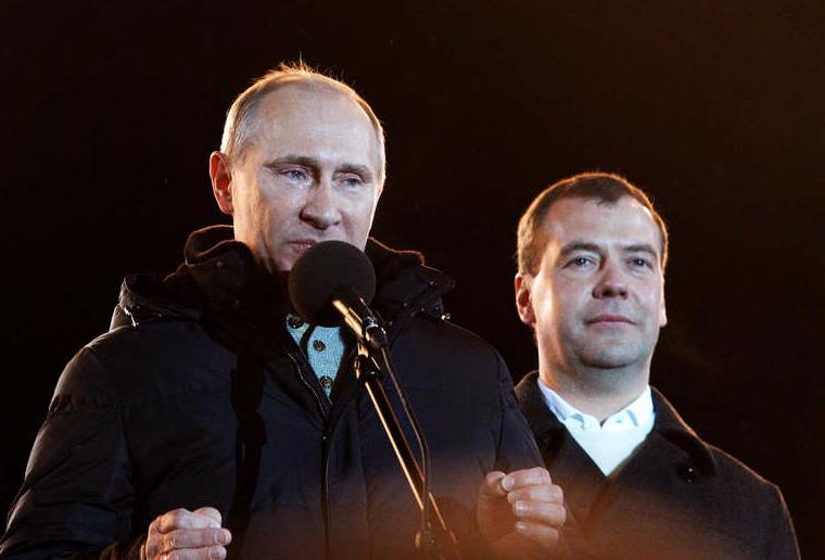 Putin och Dmitrij Medvedev.