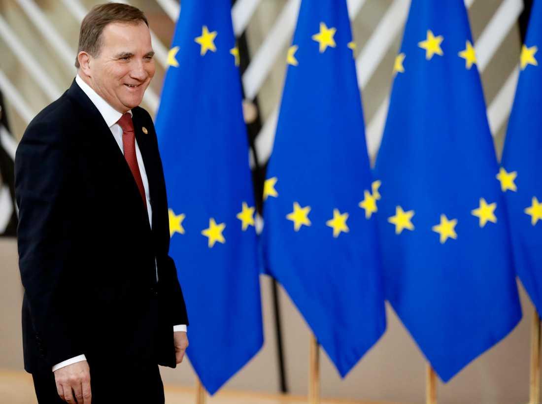 Stefan Löfven vid EU-toppmötet i Bryssel på torsdagen.