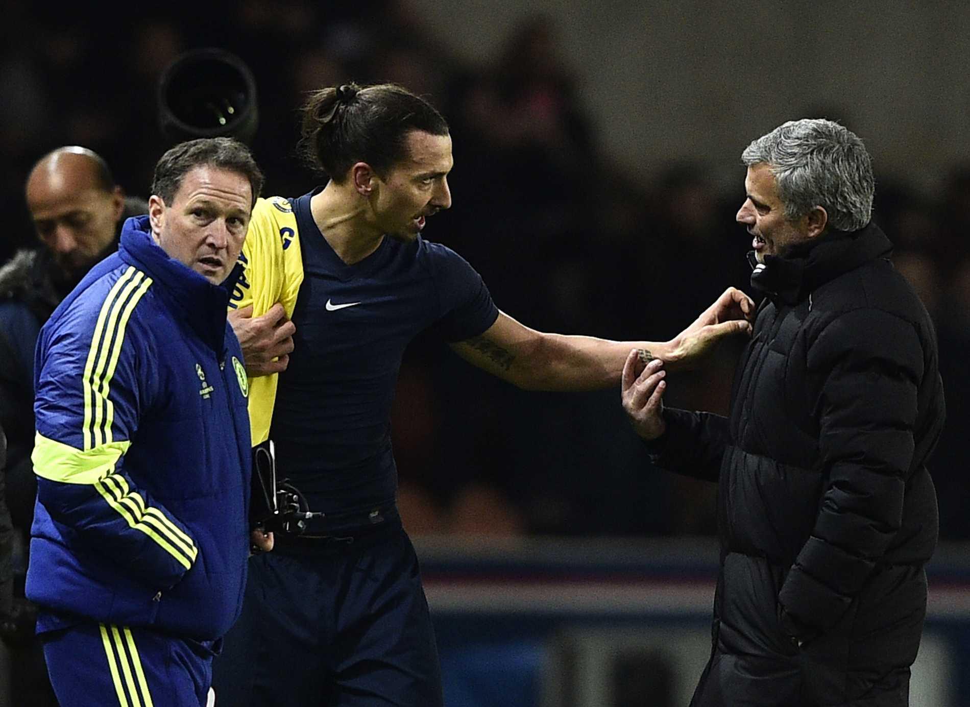 Zlatan och Mourinho efter slutsignal.