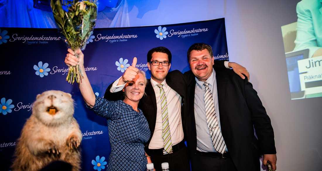 Jimmie Åkesson med Kristina Winberg och Peter Lundgren efter EU-valet 2014.