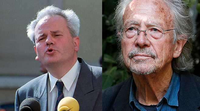 Nyblivne Nobelpristagaren i litteratur, Peter Handke, kritiseras för sitt stöd till serbiska nationalister och till Slobodan Milosevic under kriget på Balkan.