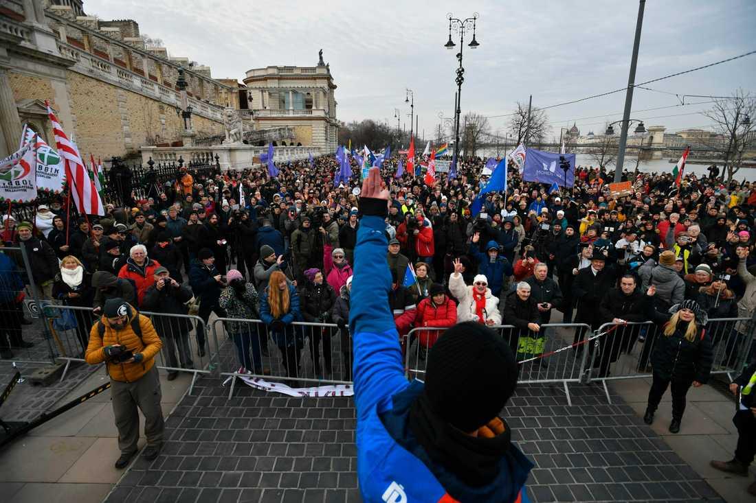 Tusentals människor protesterade mot den ungerska regeringens lagändringar gällande arbetsrättsliga villkor. Här i Budapest, den 19 januari 2019. Arkivbild.