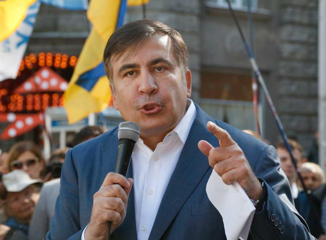 Den före detta georgiske presidenten och exguvernören i ukrainska Odessa, Micheil Saakasjvili, under ett tal i Kiev i september i fjol.