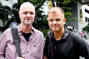 Aftonbladets team på plats: Reporter Jan Källman och fotograf Dennis Thern.