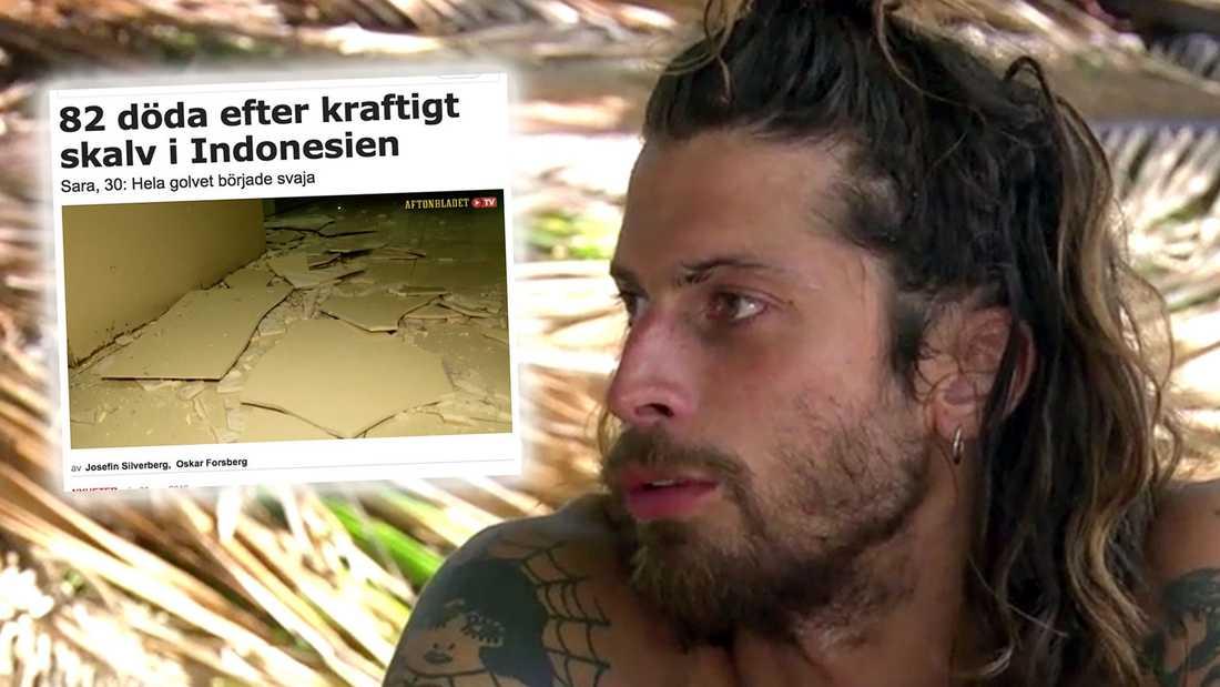 """Klas Beyer mörkade sin medverkan i """"Robinson"""" och sa att han skulle till Bali i Indonesien (infälld Aftonbladets artikel om skalvet i augusti 2018)."""