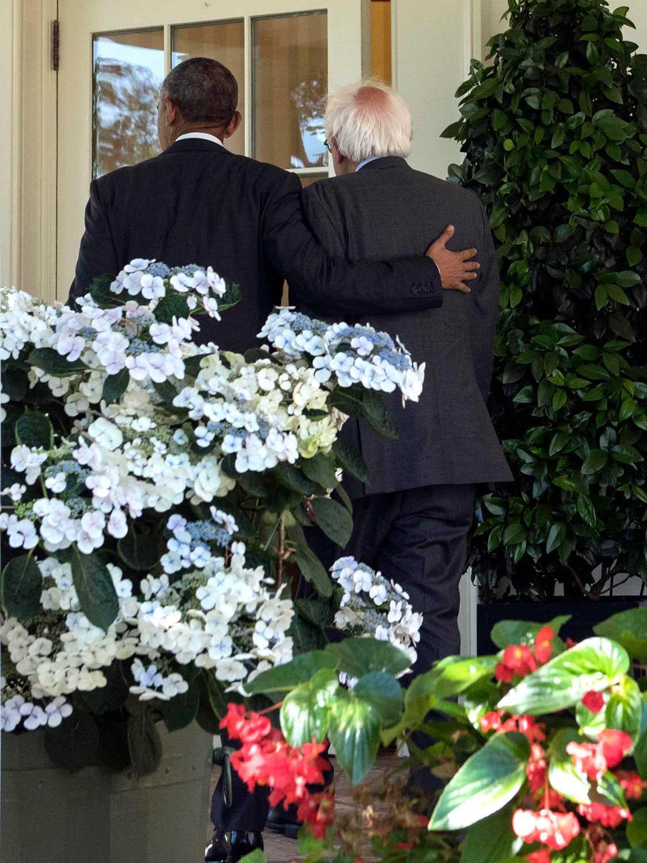 Barack Obama och Bernie Sanders.