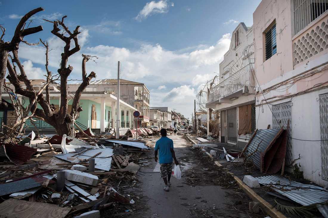 Saint-Martin efter att Irma passerat.