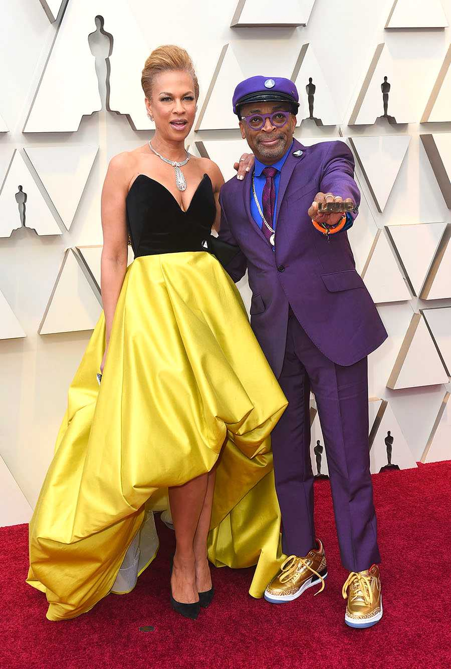 """Tonya Lewis Lee tillsammans med sin man Spike Lee som är nominerad för filmen """"BlacKkKlansman."""""""