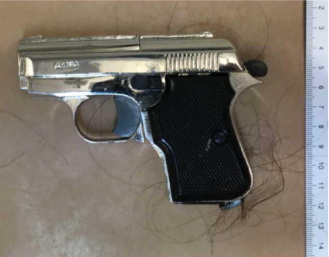 Mannen använde även en pistol som han slog sin ex-hustru med i huvudet.