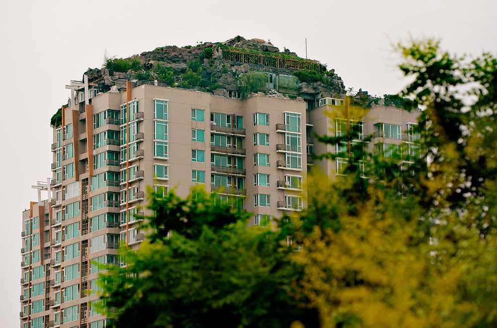 Till grannarnas förtret fortsatte professorn byggandet ovanpå det 26 våningar höga huset. Bostaden har pool, en stenträdgård, klätterväxter och gångvägar.