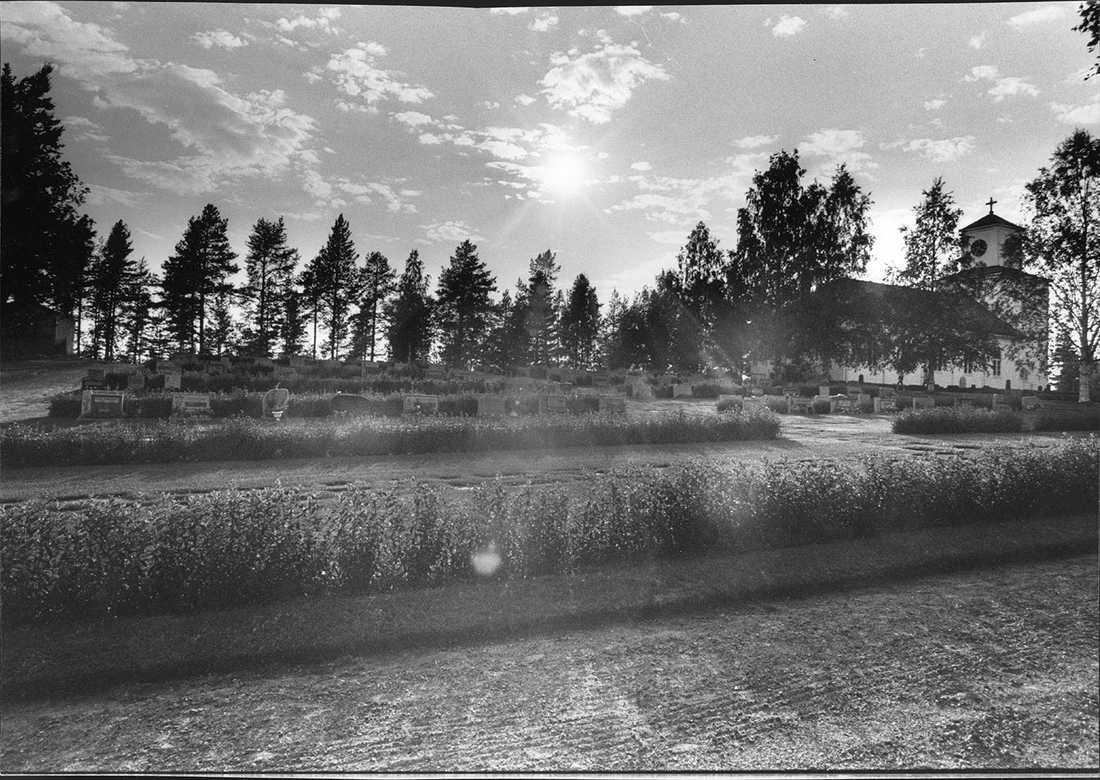 Kyrkogården i Åmsele där pappan och sonen hittades mördade. Mammans kropp hittades i en talldunge några hundra meter därifrån.