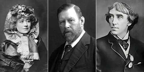 Bram Stoker i mitten, Ellen Terry till vänster och Henry Irving till höger.