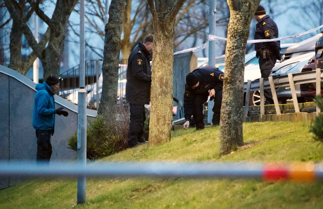 Polistekniker säkrar spår på platsen där den misstänkta våldtäkten ska ha ägd rum.