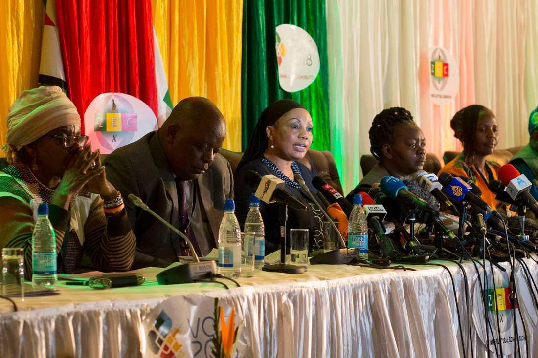 Resultatet i Zimbabwes presidentval presenterades vid en presskonferens.