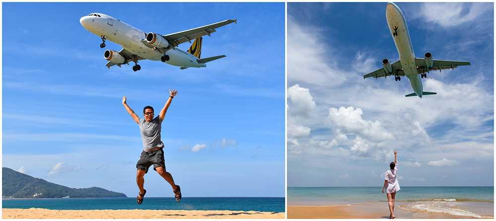 Turister tar selfies vid stranden Mai Khao Beach vid landningsbanan på Phukets internationella flygplats.