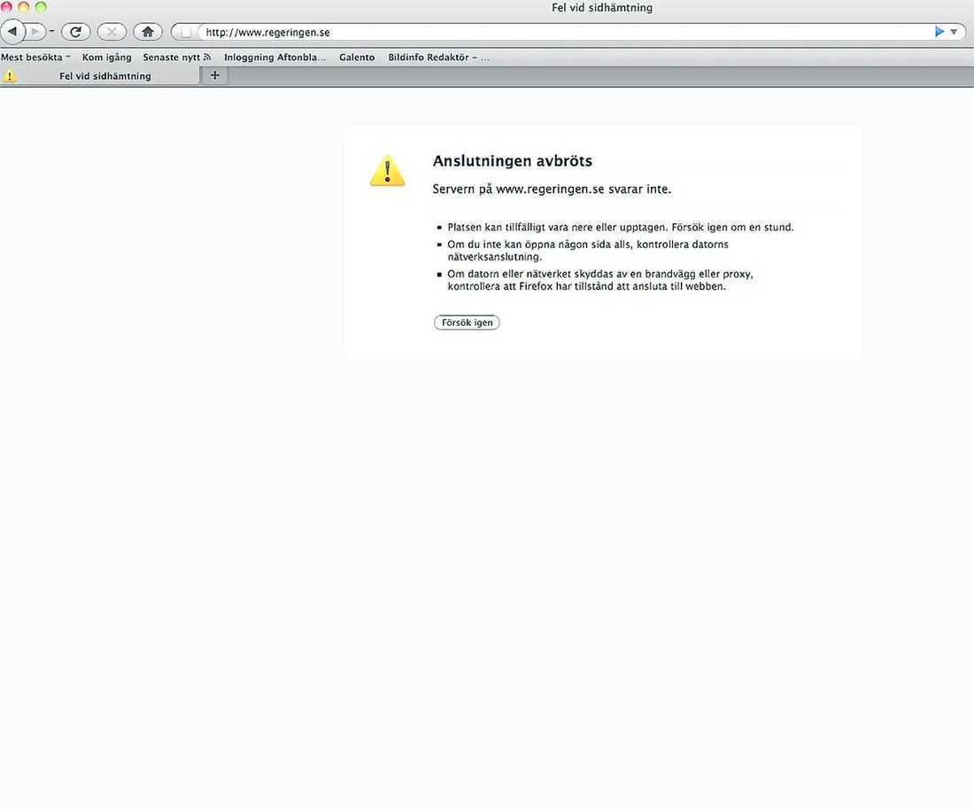 Såhär såg regeringens hemsida ut tidigt i morse. Klicka på bilden för att göra den större.