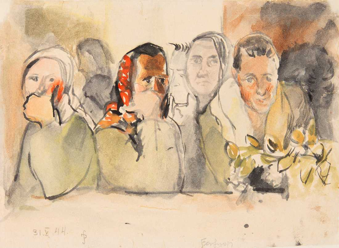 Jadwiga Simon Pietkiewicz: Verfygbare (1944), akvarell på papper.