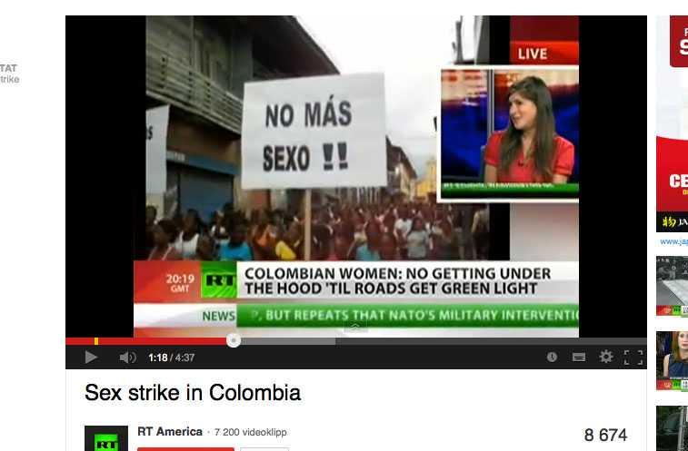 Kvinnorna i Barbacaos i sydvästra Colombia har gått i sexstrejk.