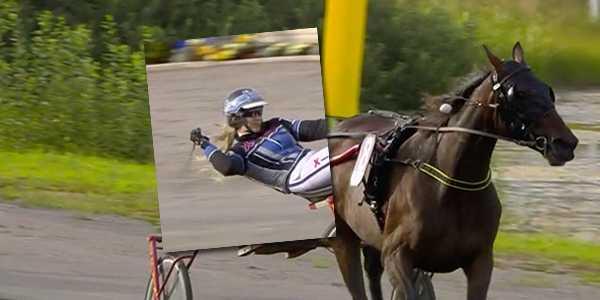 Rebecca Dahléns segergest efter V75-segern.