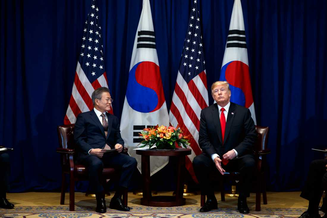 President Donald Trump träffade Sydkoreas president Moon Jae-In i New York i september