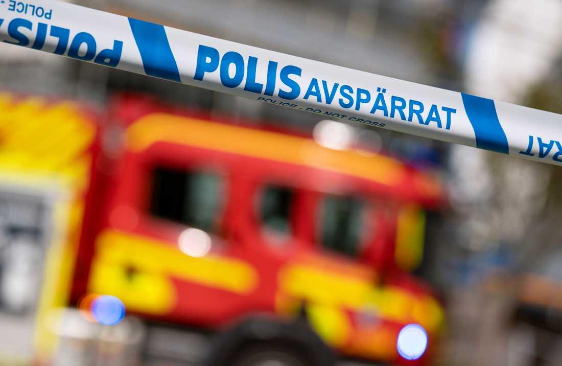 En villa brinner i Sjöbo kommun. Arkivbild.