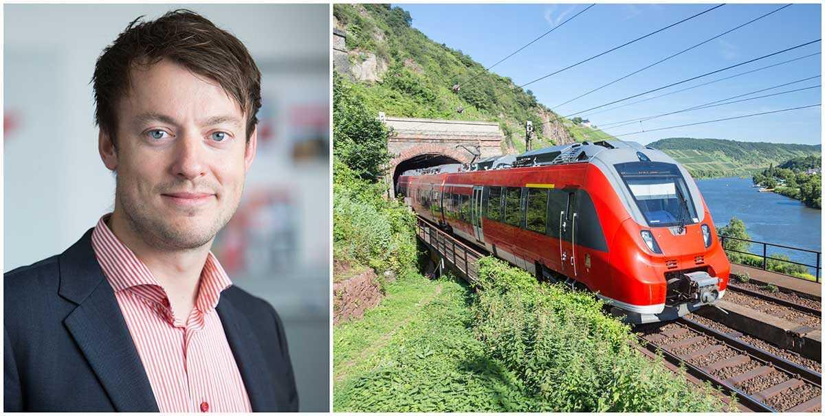 Carl Adam Holmberg, affärschef på Snälltåget, tror inte att regeringens satsning med 50 miljoner kronor på nattåg till kontinenten räcker. Bilden till höger visar ett tåg vid Moselfloden i Tyskland.