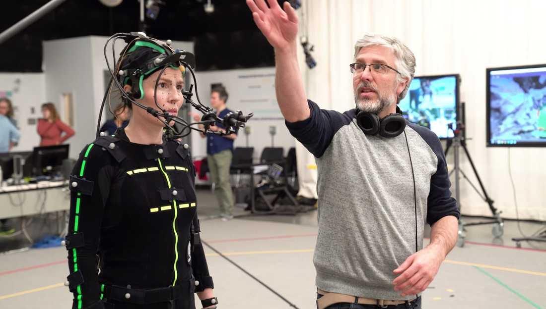 Cecilie Stenspils rörelser spelades in i en motion capture-studio. Pressbild.