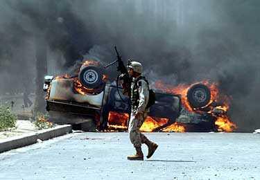 Tuz Kharmato, norr om Bagdad i dag. USA-soldater dödade två turkmener sedan de utsatts för beskjutning.