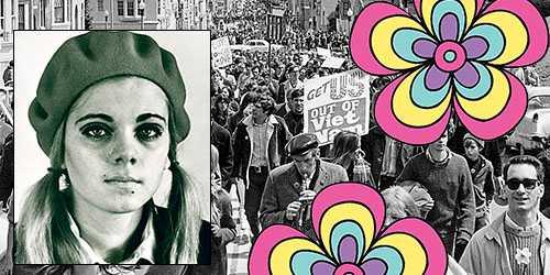 Till vänster: Maria-Pia Boëthius 1967. I bakgrunden en Vietnamdemonstration i San Francisco.