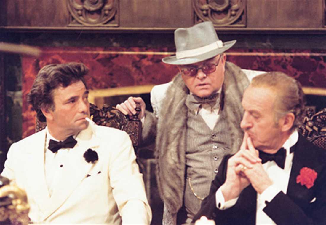 """Peter Falk, Truman Capote och David Niven i """"Släpp deckarna loss, det är mord""""."""