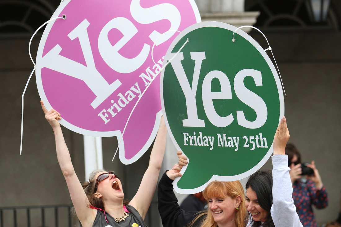 I maj förra året ställde sig 66,4 procent av irländarna bakom en liberalisering av abortlagstiftningen i Irland. På bilden firar förespråkarna resultatet i Dublin.