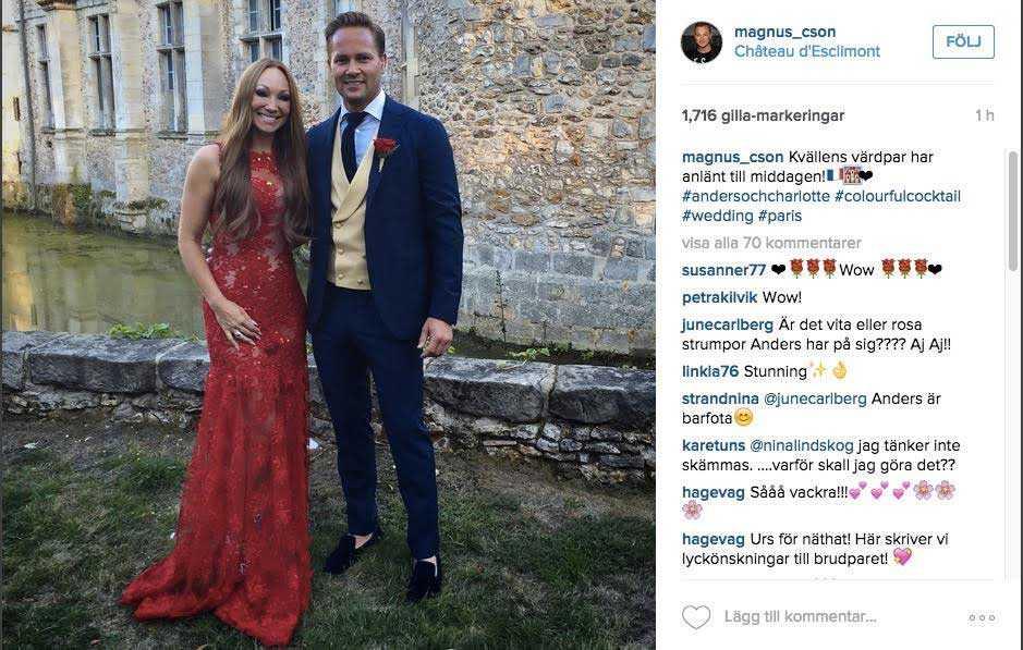 Bland gästerna finns sångaren Magnus Carlsson, som lagt upp den här bilden på sitt Instagram.