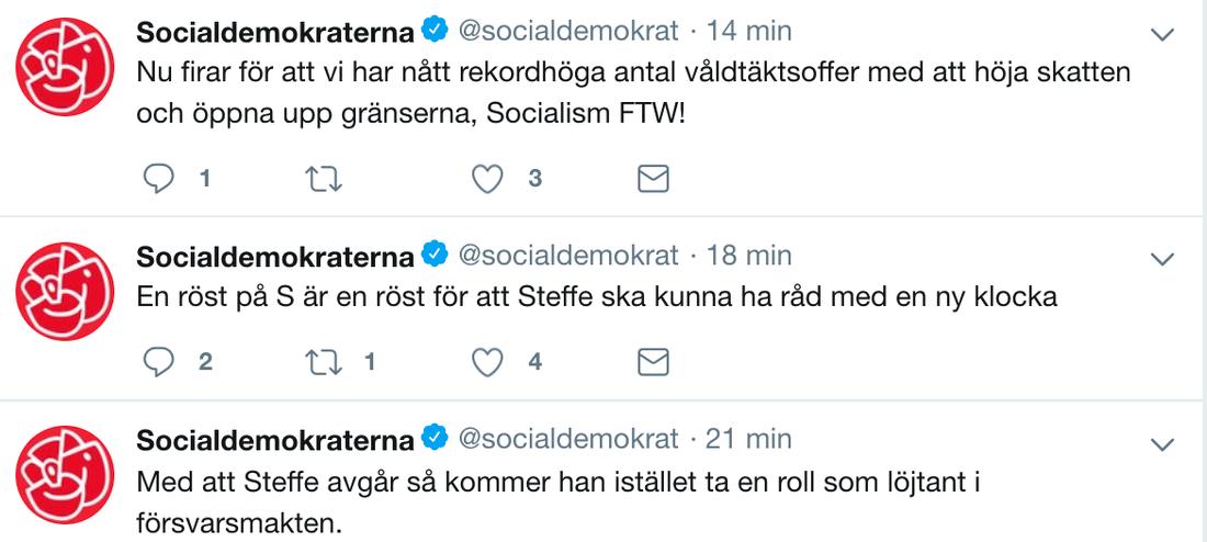 Socialdemokraternas Twitter under natten mot måndag.