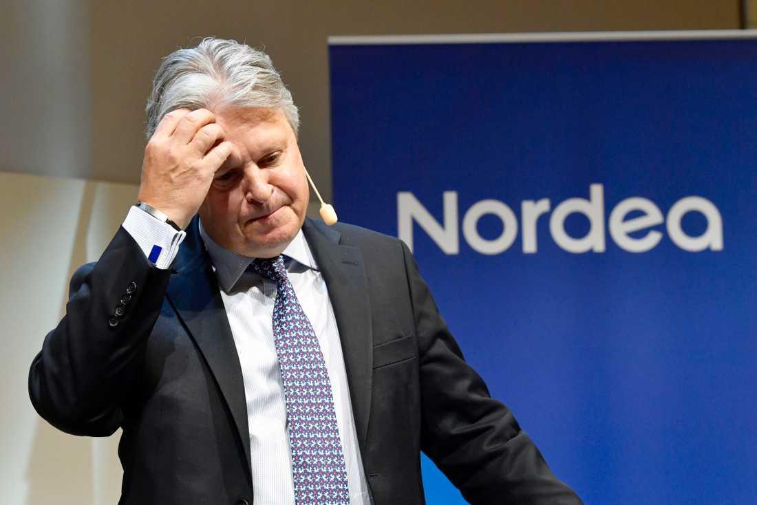 Styrelsebeslutet om att flytta Nordea, med vd Casper von Koskull, fattades i början av september. Frågan avgörs slutligt på Nordeas stämma till våren. Arkivbild.