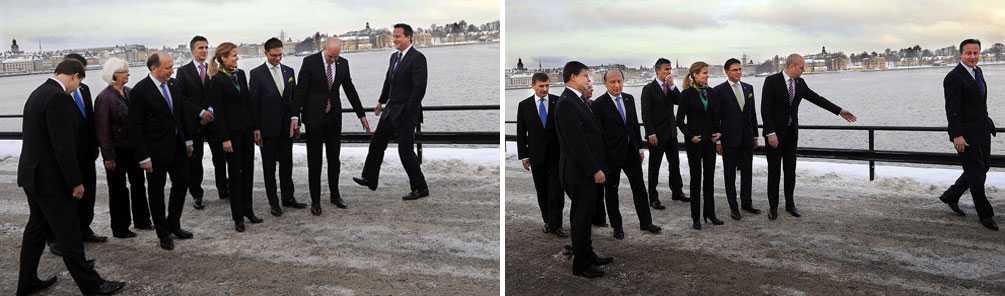 STICKER ÅT VÄNSTER Fredrik Reinfeldt tillrättavisar David Cameron när det är dags att fotografera regeringscheferna.