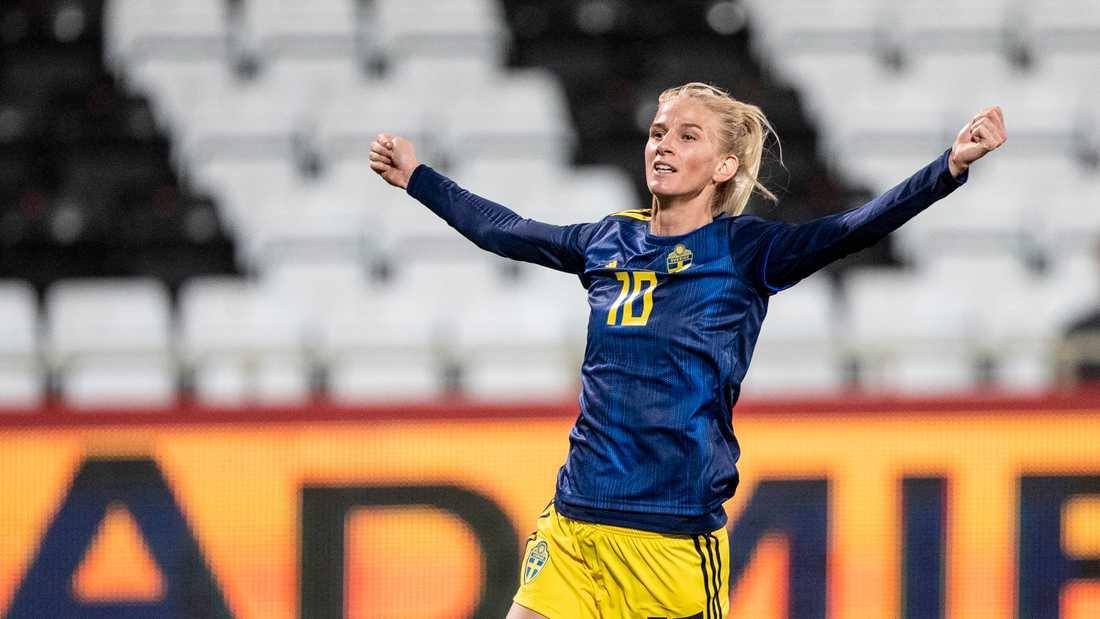 Sofia Jakobsson, här i den svenska landslagsdressen, gjorde ett av målen när hennes klubb CD Tacón bortaslog Huelva med 3–1. Arkivbild.