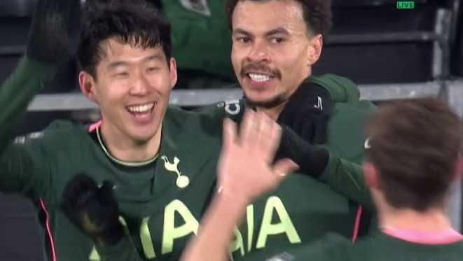 Dele Alli (höger) och Heung min Son jublar efter 1–0 mot Fulham.