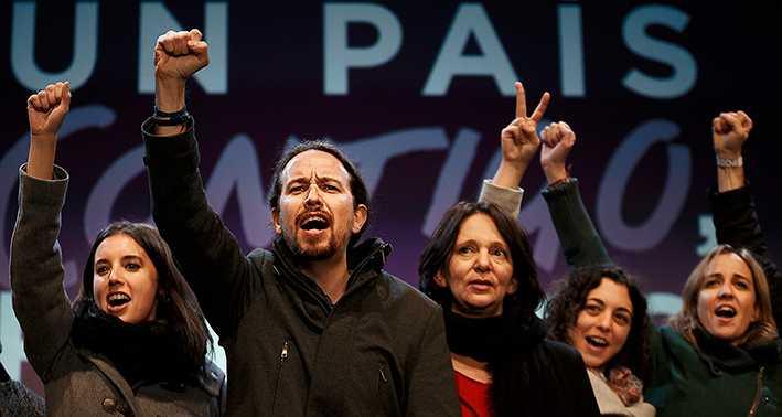 segerjublet Podemos partiledning med Pablo Iglesias i spetsen jublar efter att ha nått 20 procent i parlamentsvalet i december. På knappt två år har partiet blivit det tredje största i Spanien.