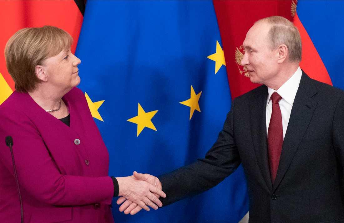Angela Merkel och Vladimir Putin diskuterade bland annat Libyen i Moskva häromdagen.