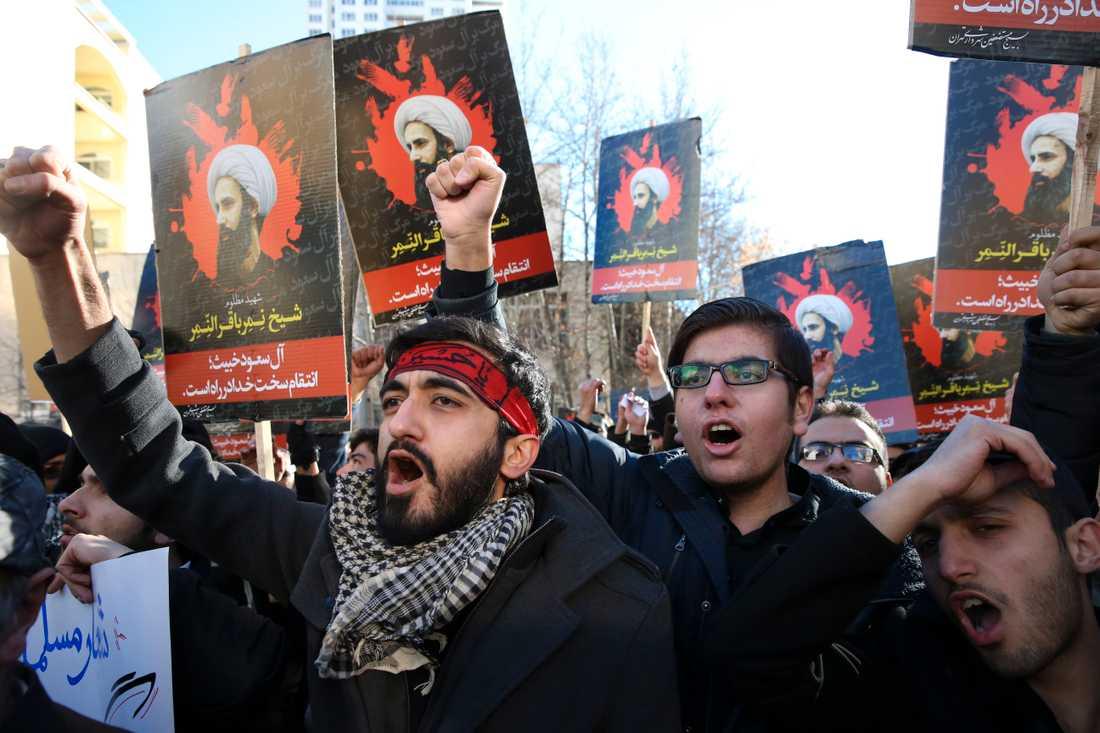 Dödsstraffet väcker starka känslor. Här demonstrerar iranier mot Saudiarabiens avrättning av den shiamuslimske religiöse ledaren Nimr al-Nimr 2016. Arkivbild.